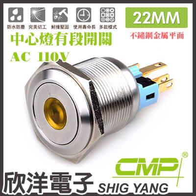 ※ 欣洋電子 ※ 22mm不鏽鋼金屬平面中心燈有段開關AC110V / S2202B-110V 藍、綠、紅、白、橙 五色光自由選購