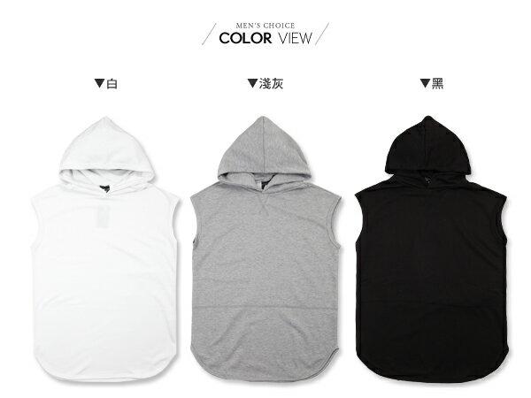 ☆BOY-2☆【KKL2013】美式下擺圓弧連帽長版背心T桖 1