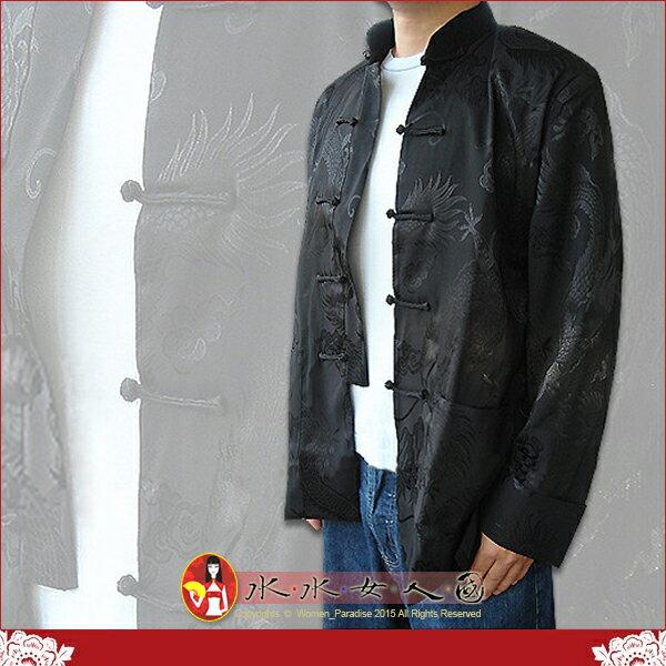 【水水女人國】~中國風男士唐裝~〈驚喜價699元〉書卷氣質十足的綢緞龍形圖紋長袖外套。兩色