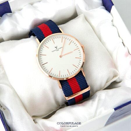范倫鐵諾Valentino 玫瑰金刻度帆布手錶對錶腕錶 中性款男女皆可 柒彩年代【NE1650】單支 0