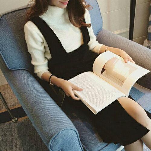 短洋裝 - 毛呢口袋設計吊帶連衣裙【29216】藍色巴黎 - 現貨+預購 2