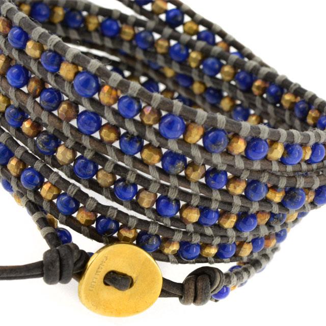 【現貨商品】【CHAN LUU】青金石鍍金珠灰色皮繩手環/5圈(CL-BG-3508Ll-NaturalGray  06734700EE) 2