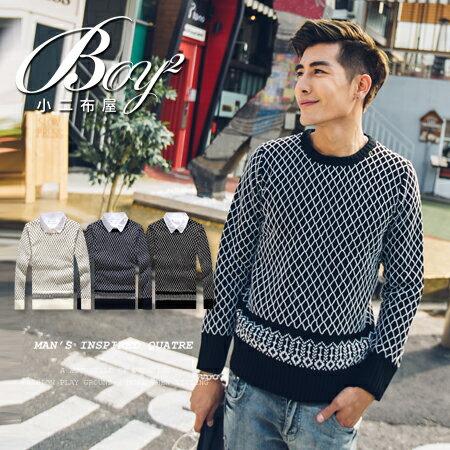 ☆BOY-2☆ 【OE50089】韓版格線針織毛衣 0