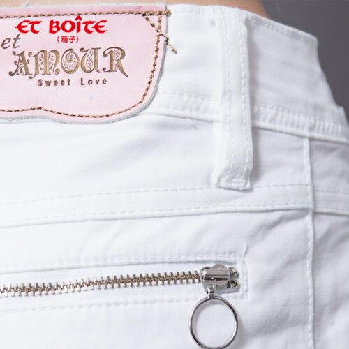 【ET BOîTE 箱子】 AMOUR 海洋風休閒白色短褲 1