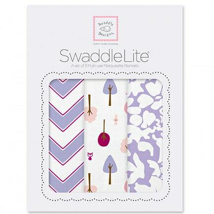 美國【Swaddle Designs】薄棉羅紗包巾組 -3入(山型紋小樹繁花粉紫) 0