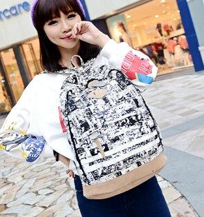 【歐美塗鴉後背包】 韓版流行後背包 學院風旅行包 書包  時尚玩包