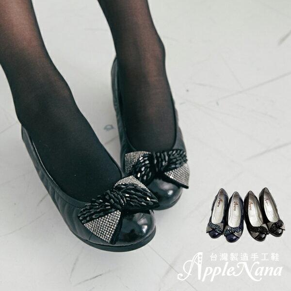 AppleNana。寬肉腳推。晶亮蝴蝶結真皮芭蕾楔型娃娃鞋【Q07051380】蘋果奈奈 0