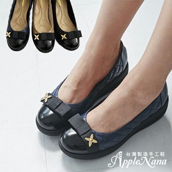 AppleNana。羽量化超輕型。小香風菱格紋全真皮厚底楔型鞋【QC117941480】蘋果奈奈 0