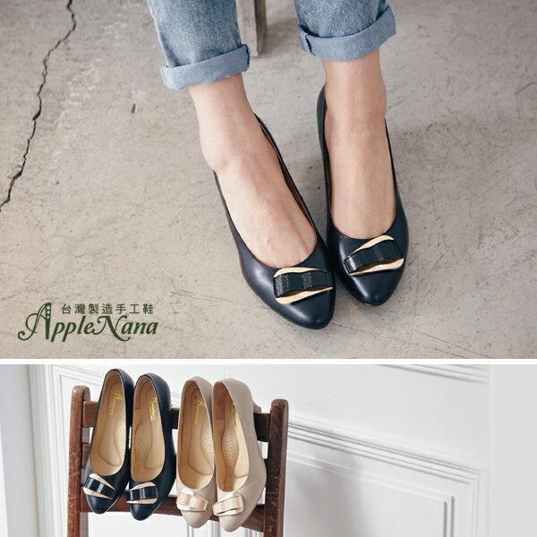 AppleNana。完美楦型。韓系名模系橢圓大釦真皮尖頭高跟鞋【QC130071380】蘋果奈奈 0