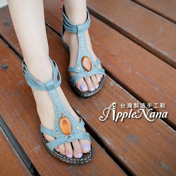 AppleNana。外銷日本。限量真皮手縫圓鉚羅馬後拉式氣墊涼鞋。時尚必備【QT81181280】蘋果奈奈