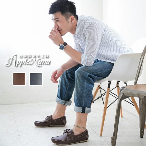 AppleNana。經典元素。真皮男士帆船氣墊休閒鞋。情侶鞋【QX071780】蘋果奈奈 0