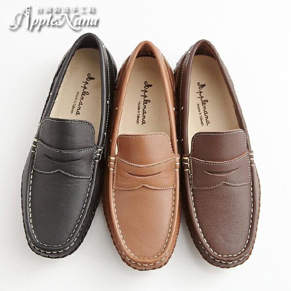 AppleNana。紳士風度。莫卡辛男士真皮氣墊休閒鞋男鞋【QX121780】蘋果奈奈