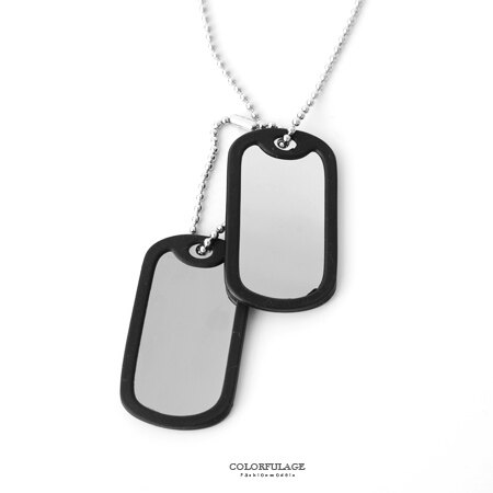 項鍊 雙軍牌造型白鋼材質 雙墜可拆款 珠鍊設計剛中帶柔 質感膠圈包覆 柒彩年代【NB672】文藝時尚 0