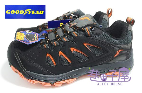 【巷子屋】GOODYEAR固特異 男款防臭透氣護趾戶外郊山鞋/登山鞋 [53620] 黑橘 超值價$690