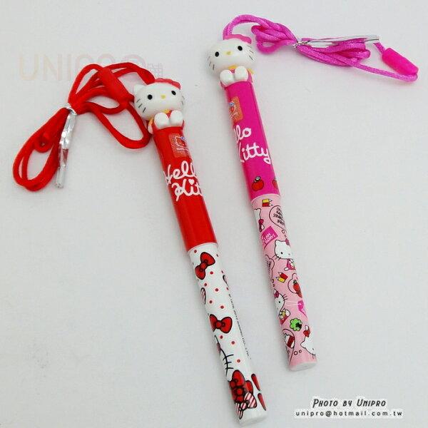 【UNIPRO】Hello Kitty 公仔掛繩 凱蒂貓 0.5mm 藍色 原子筆 三麗鷗正版授權