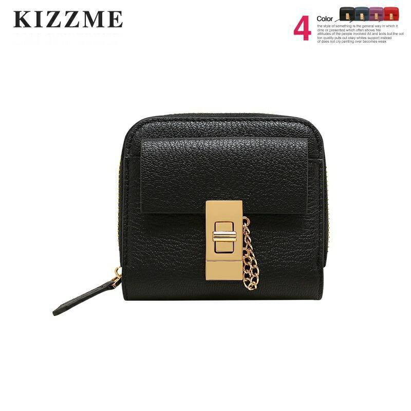 ^(喜番屋^)KIZZME 真皮羊皮柔軟親膚多 鎖扣 拉鏈女士2折皮夾皮包錢夾零錢包卡片包