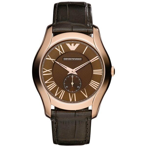 EMPORIO ARMANI/AR1701+AR1707雅痞玫瑰金計時對錶/咖啡面44.5+38mm