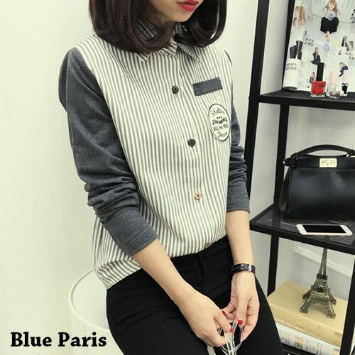 襯衫 - 學院風拼接設計貼布直條襯衫【29145】藍色巴黎《2色》現貨 + 預購 0