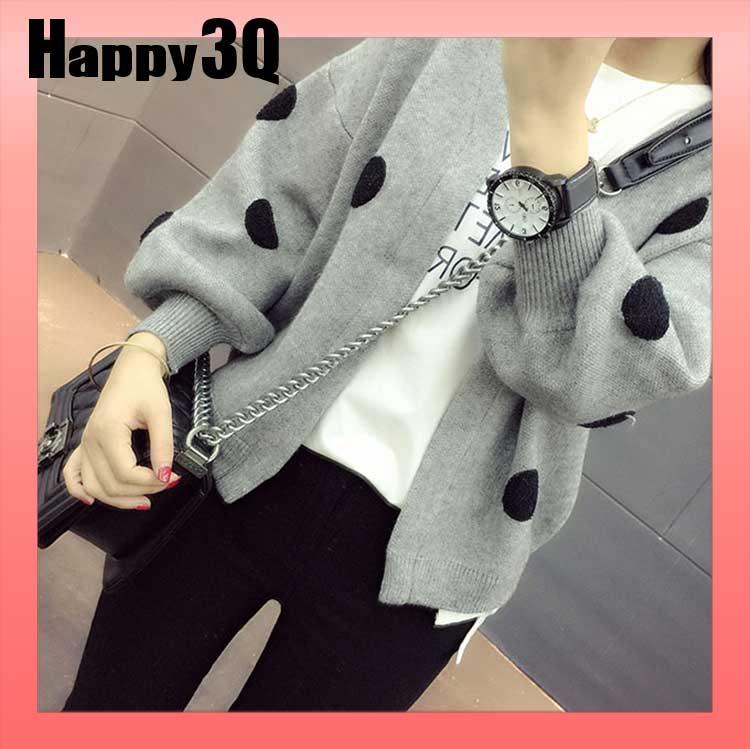 可愛滿版點點長袖寬鬆開襟毛衣V領針織外套~粉 白 橘黃 灰 黑S~L~AAA0893~