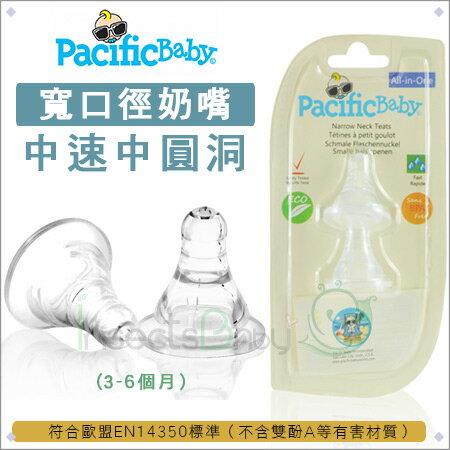 ?蟲寶寶?美國【Pacific Baby】美國寬口徑防漏防脹氣奶嘴2入組(3款)_中速中圓洞(3-6個月)《現+預》