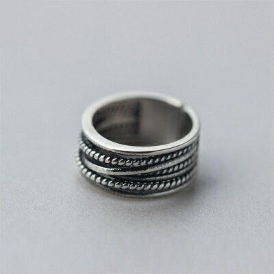 925純銀戒指開口戒~多層線條麻花 生日情人節 女飾品73dt88~ ~~米蘭 ~ ~