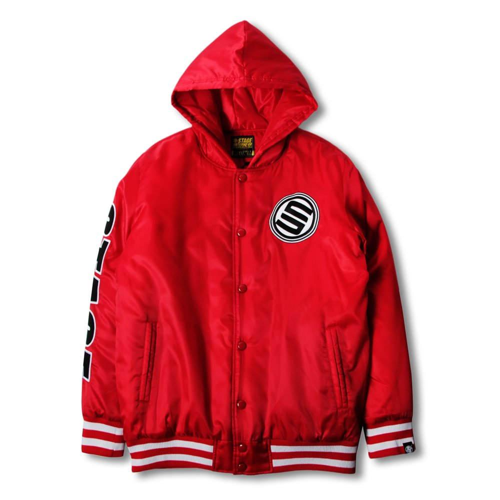 《新品限定優惠》STAGE HOODED BASEBALL JACKET 黑色/紅色 兩色 0