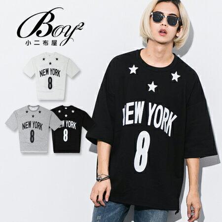 ☆BOY-2☆【PPK86132】韓版NEW YORK 8星星寬鬆男裝七分袖T恤 0