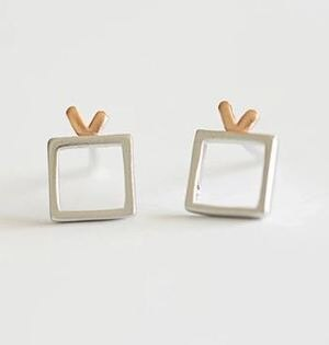 Tokyo Alice 925純銀天線電視耳環,純銀飾品首飾耳飾貼耳針飾品(se0000058)