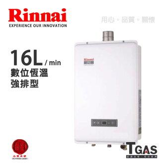Rinnai林內 16L 數位恆溫強排型熱水器【RUA-B1601WF】含基本安裝★請先來電確認庫存