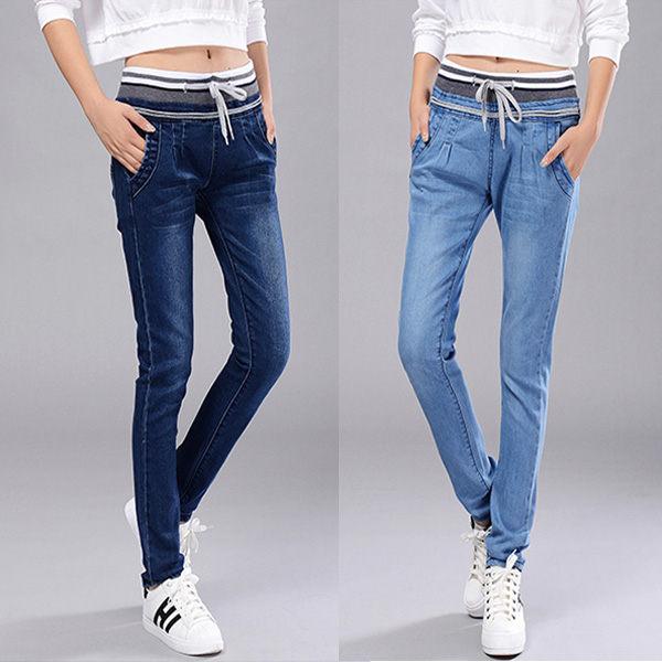 牛仔褲 - 韓版鬆緊腰褶皺口袋修身小腳窄管褲【23276】藍色巴黎 《3色: S~L》現貨 1