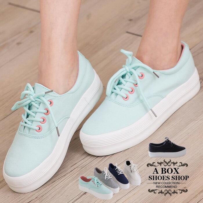 格子舖*【KRJ-1019】韓版熱銷摩登 附單色替換鞋帶 增高3.5CM厚底鬆糕鞋 帆布鞋 5色 0