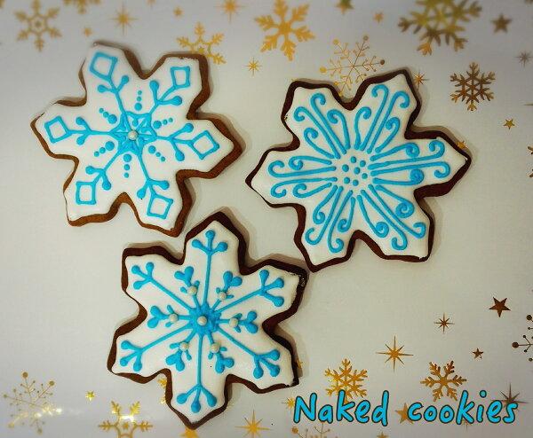 【裸餅乾Naked Cookies】雪花6入-創意手工糖霜餅乾,婚禮小物/生日/活動/收涎/彌月
