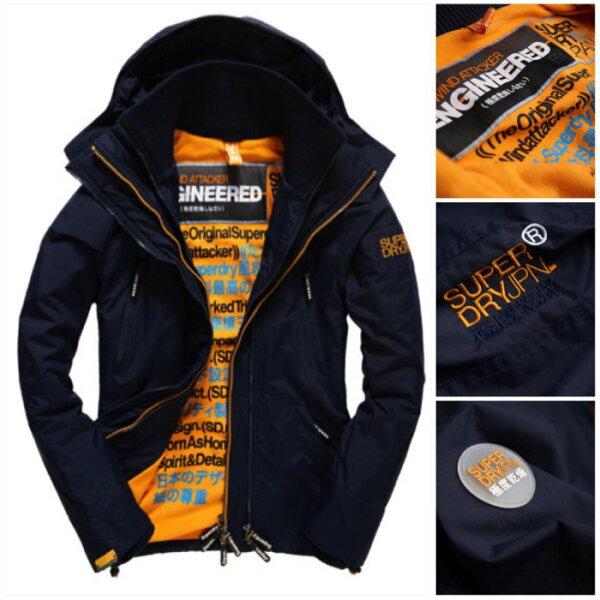 [男款]英國名品代購 極度乾燥 Superdry Arctic Wind Attacke 男士防水防風戶外休閒外套夾克風衣 深藍