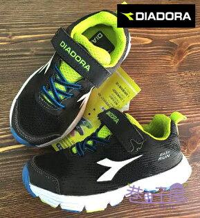【巷子屋】義大利國寶鞋-DIADORA迪亞多納 男童四大機能寬楦超彈力鷹羽跑鞋 [9706] 黑綠 超值價$398