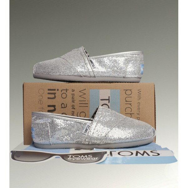【TOMS】經典亮片款平底休閒鞋(銀色)  Sliver Glitter Women's Classics 7
