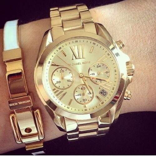 美國Outlet 正品代購 MichaelKors MK 金色熱吻巴黎三環計時手錶腕錶 MK5798 6