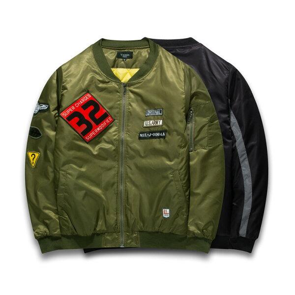50%OFF【A019097C】歐美數字刺繡32號防風防潑水鋪棉超厚超保暖飛行外套棒球外套