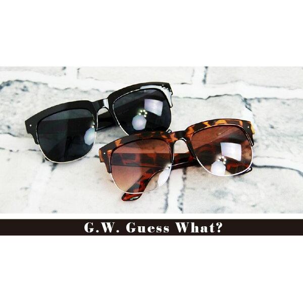 G.W.雷朋復古式半框造形太陽眼鏡墨鏡❥鏡面反光豹紋全黑❥潮流西岸❥原宿❥中性款男女皆可❥大臉小臉修飾❥不限臉型♛~交換禮物GUESSWHAT