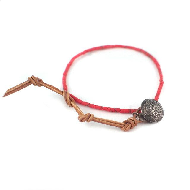 【海外訂購】【amp japan】紅珊瑚民族風手環(AMP-12AH-013CORAL  0605210000) 1