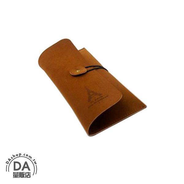 《DA量販店》鐵塔 皮質 筆袋 學生文具筆袋 文具袋 文具用品 收納袋 軍綠(79-1417)