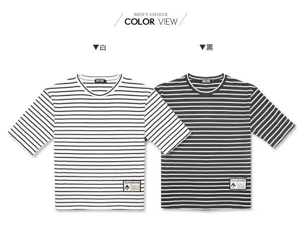 ☆BOY-2☆【ND6818】滿版休閒條紋男裝五分袖短袖T恤 1
