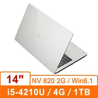 ASUS K455LD-0043G4210U(天使白) 14吋筆記型電腦 14吋/i5-4210U/DDR3L 1600 4GMAX.8G/1TB 5400/820 2G/燒/W8.1