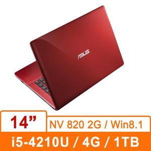 ASUS K455LD-0053F4210U(熱情紅) 14吋筆記型電腦  14吋/i5-4210U/DDR3L 1600 4GMAX.8G/1TB 5400/820 2G/燒/W8.1