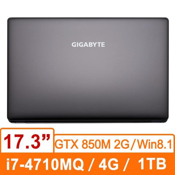 技嘉GIGABYTE P17F-BSMF0630 (黑) 筆記型電腦 i7-4710MQ/DDR3L 4 G/1T 7200rpm/GTX 850M D3 2G/DVD/Win8.1