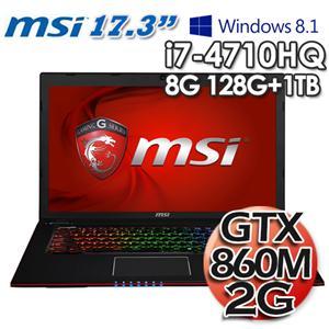 微星MSI GE70 2PE-626TW-BB74718G1T0DS81M 17.3吋筆記型電腦 17.3吋/i7 4710HQ/8GB128G SSD +1TB/GTX860M 2G/W8.1