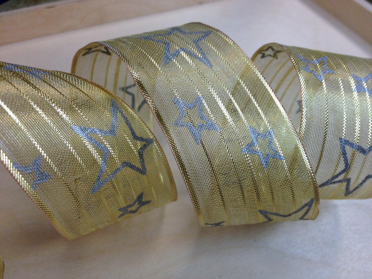 網紗緞帶-聖誕鐵絲星星 38mm 3碼裝 (2色) 1