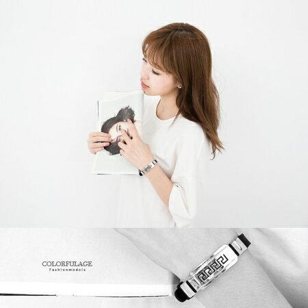 柒彩年代【NA98】西德316L鋼錶帶式手環.無限制手圍都可配戴~街頭潮流時尚情侶對鍊.單個 0