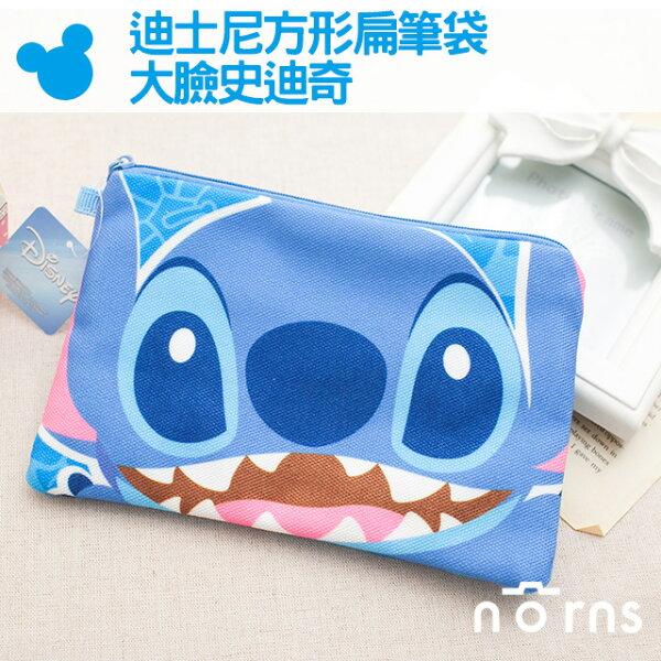 NORNS 【迪士尼方形扁筆袋-大臉史迪奇】卡通帆布筆袋 化妝包