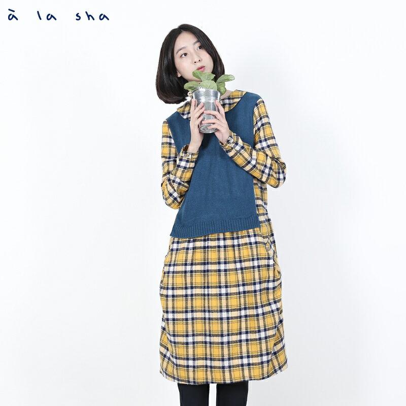 a la sha Qummi 格紋與針織拼接洋裝 1