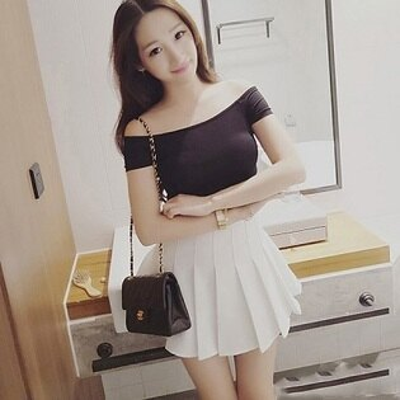 PS Mall 韓版一字領修身露肩短袖T恤 百搭上衣【T1343】
